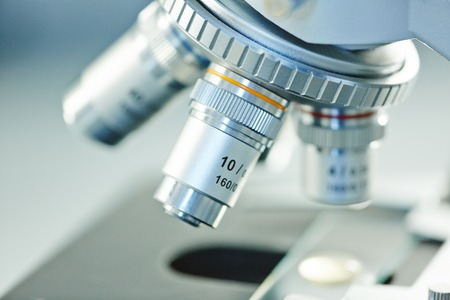science equipment: Magnifying lens of modern microscope