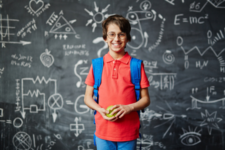 elementary schools: Portrait of a smiling schoolboy with an apple on blackboard background