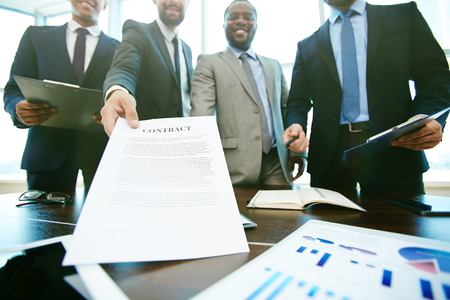 suggesting: Business group suggesting you to sign a contract