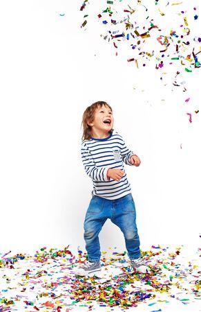 one teenager: Portrait of little boy having fun