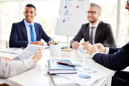 business planning: Business people planning work together at the table Stock Photo