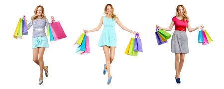 shopper: Pretty young shopper with paperbags expressing satisfaction