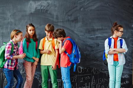 cruel: Cruel classmates mocking at schoolgirl