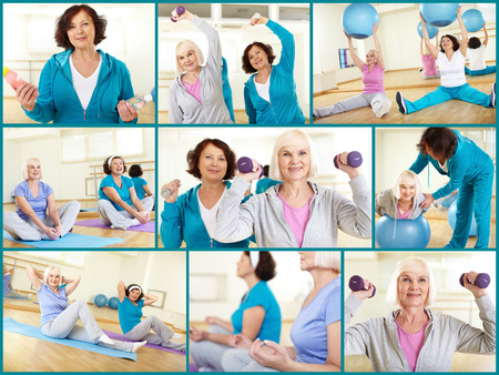 Two mature women exercising at gym photo