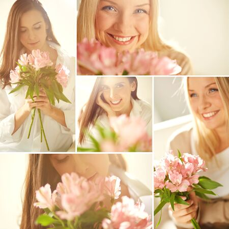 Collage of young happy women with flowers photo