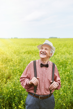 welldressed: Well-dressed and happy senior man enjoying sunny day in meadow