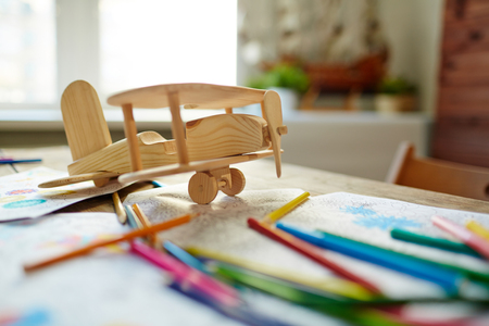 realization: Wooden airplane and objects for realization of creative ideas