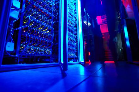 Supercomputer in server room of research institute