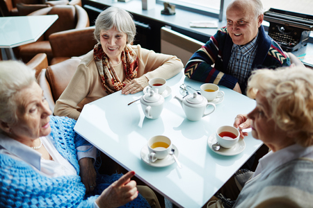 Group of friendly seniors talking by tea in cafe