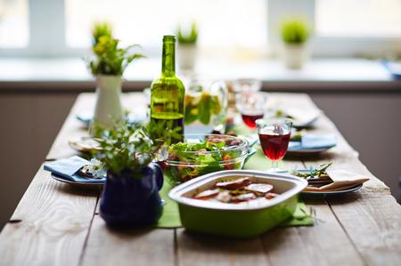 Table served for festive dinner