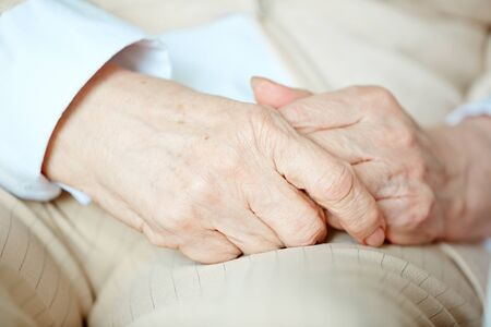 handcare: Senior female hands one in another