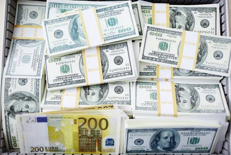 banknote: Background of dollar bills and euro banknotes