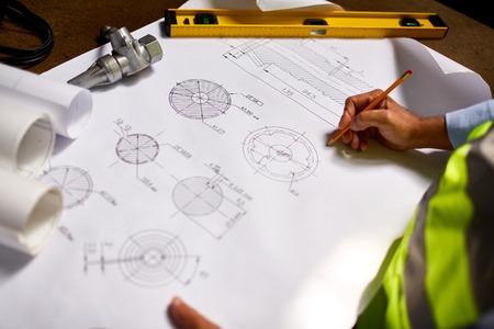 machine part: Modern engineer drawing sketch of machine part Stock Photo