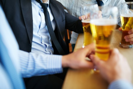 beer after work: Successful employees having beer after work