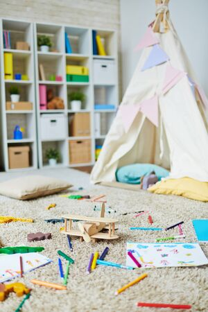 drawing room: Play room in kindergarten with toys and drawing objects