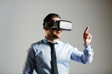 contemporary: Contemporary user entering virtual system