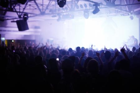 light show: Pop concert audience enjoying music