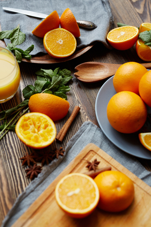 organics: Fresh oranges and aromataic spices for mulled wine