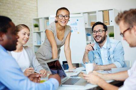 business team: Group of business team having a meeting at office Stock Photo