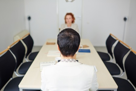 vacancy: Employer listening to candidate for vacancy Stock Photo