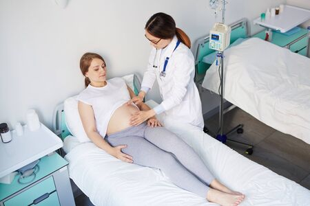 obstetrician: Obstetrician touching belly of pregnant patient in clinics