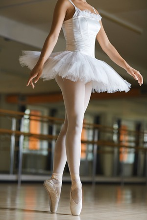 Graceful ballerina having repetition of exercises