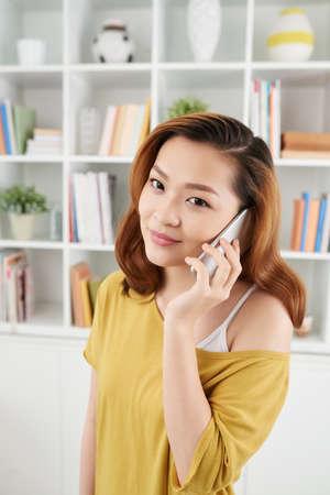 lady on phone: Cheerful lady having phone talk Stock Photo