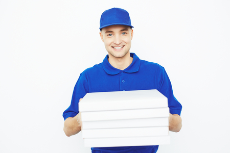 courier: Pizza delivery courier isolated on white background Stock Photo