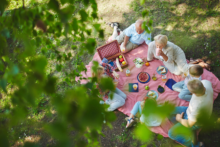 Happy big family on picnic in the park Stock Photo