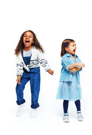 Two ecstatic girls in casualwear