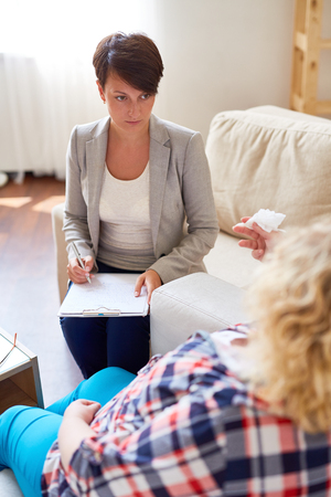 counsel: Professional psychologist listening to her patient