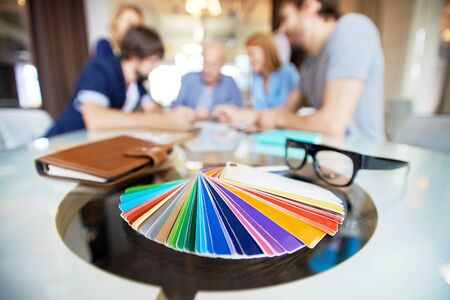 Close-up of color palette on the table Stock Photo