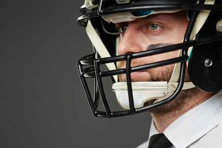 white collar: Portrait of confident white collar worker in sports helmet Stock Photo
