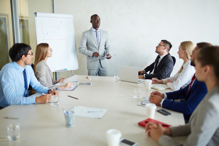 proficient: Young managers attenting qualification course Stock Photo
