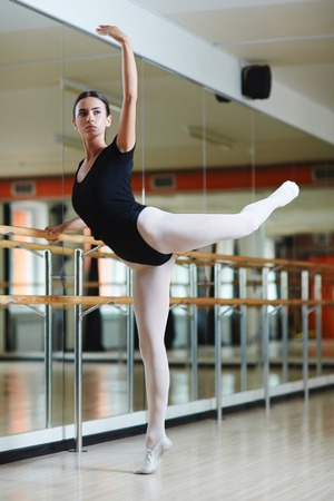 performer: Young performer having choreographical repetition