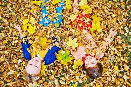 fall leaf: Above view of two happy children, boy and girl, in bright clothes enjoying warm autumn day, playing in park and lying in pile of fallen leaves throwing them on themselves, blond boy looking at camera Stock Photo
