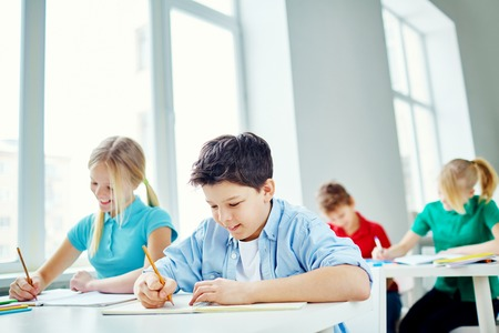 Schoolchildren writing test at lesson photo