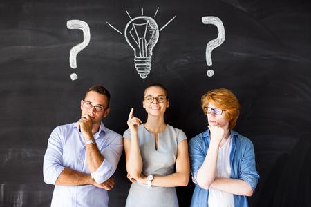teamwork people: Young businesswoman got fresh idea