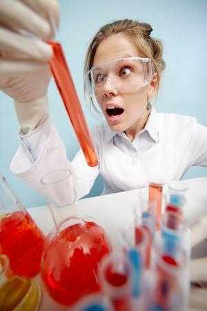 tubing: Portrait of shocked chemist with tubing Stock Photo