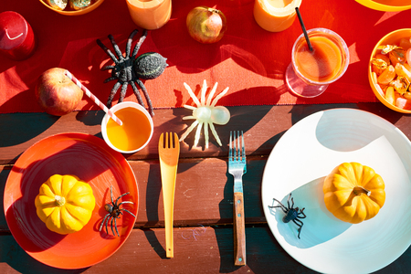 Served table with Halloween symbols