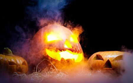 unlit: Jack O Lantern blazing and smoking on straw among two other pumpkins that are unlit against black background