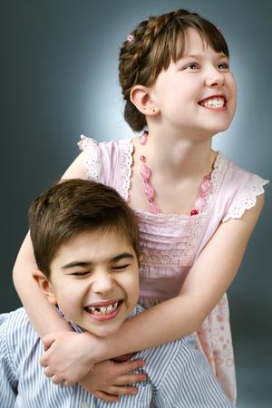 Portrait of playful kids grimacing