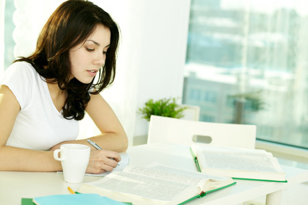 dictionaries: High school student working with dictionaries at home Stock Photo