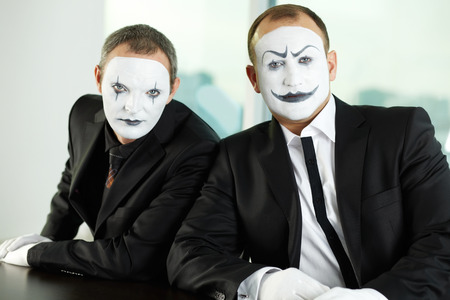 collarin: Portrait of two mimes representing business people Foto de archivo