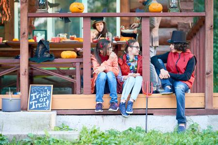 children party: Children communicating during Halloween party
