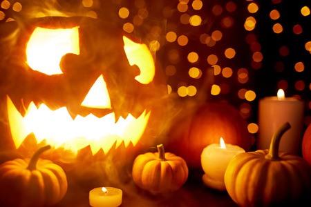 Shroud of fume and Halloween symbols Stock Photo