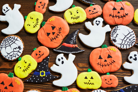 Tasty biscuits in shape of Halloween attributes Stock Photo