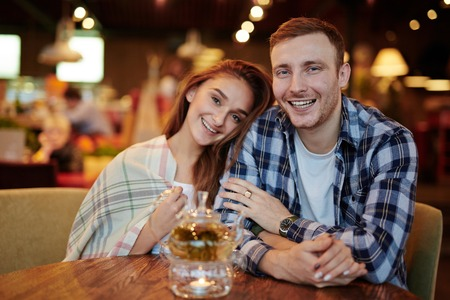 amorous: Amorous couple spending time in cafe Stock Photo