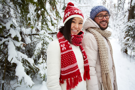 wintery: Happy valentines walking in park on wintery day Stock Photo