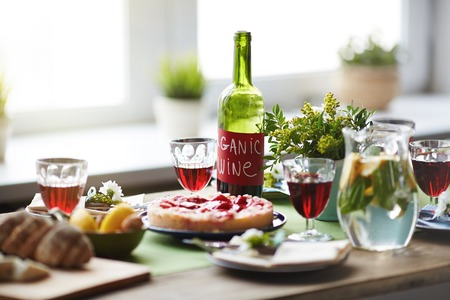 savory: Served holiday table with dessert and drinks